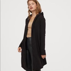 H&M Black Long Hooded Cardigan Size Small